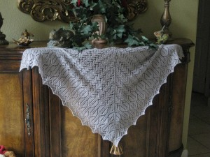 Camelot's Embrace Shawl on console